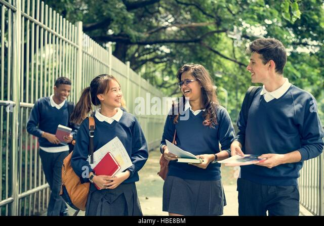 Student Study Uniform Book College Book Teen Concept - Stock Image