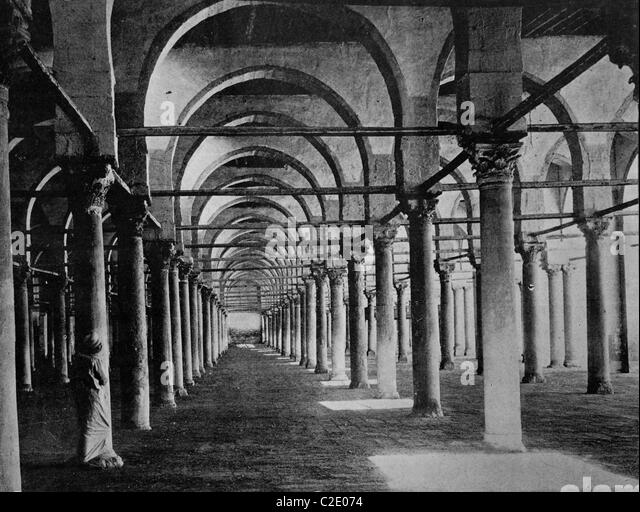 One of the first autotypes of Mosque de Gama, Cairo, Egypt, historical photograph, 1884 - Stock Image