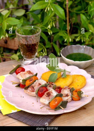 Swordfish and smoked bacon brochettes,watercress sauce - Stock Image