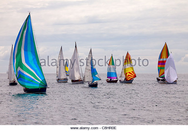 A group of sailboats in the annual Swiftsure International Yacht Race. - Stock-Bilder