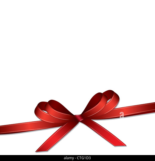 Red ribbon and bow isolated on white background - Stock Image