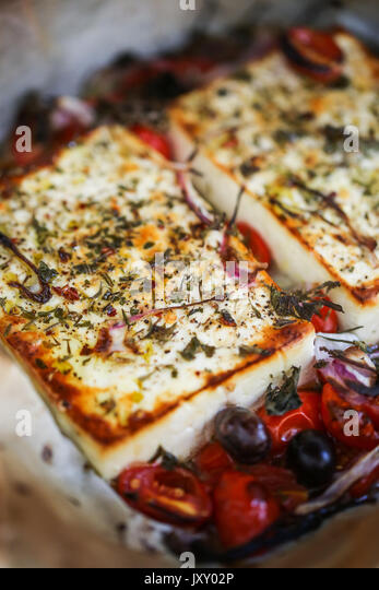 Baked cheese Feta Bouyiourd - Stock Image