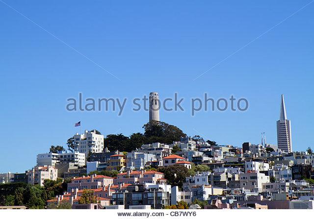 California San Francisco Telegraph Hill neighborhood Coit Tower skyline landmark art deco building clear blue sky - Stock Image