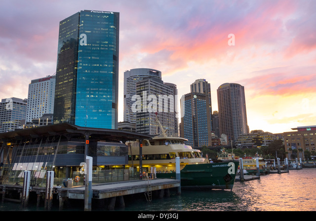 Sydney Australia NSW New South Wales Circular Quay Sydney Harbour harbor water Parramatta River ferry terminal docks - Stock Image