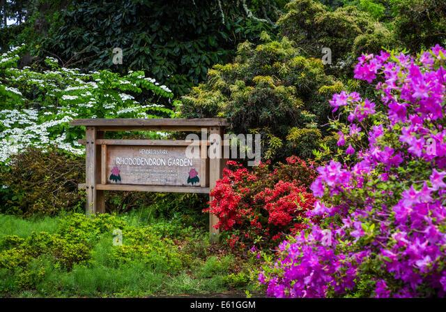 Hendricks Park and Gardens park sign in Eugene, Oregon, USA. - Stock Image