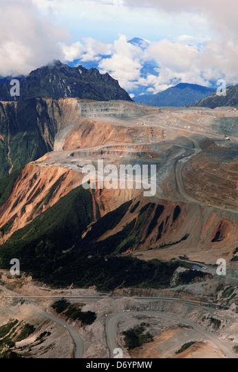 Copper and gold mine, Grasberg Mine, Irian Jaya, Indonesia - Stock Image