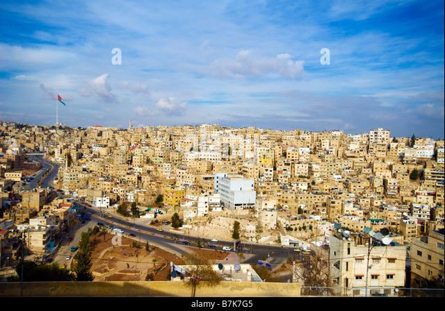 Jordan Amman citadel city view - Stock Image