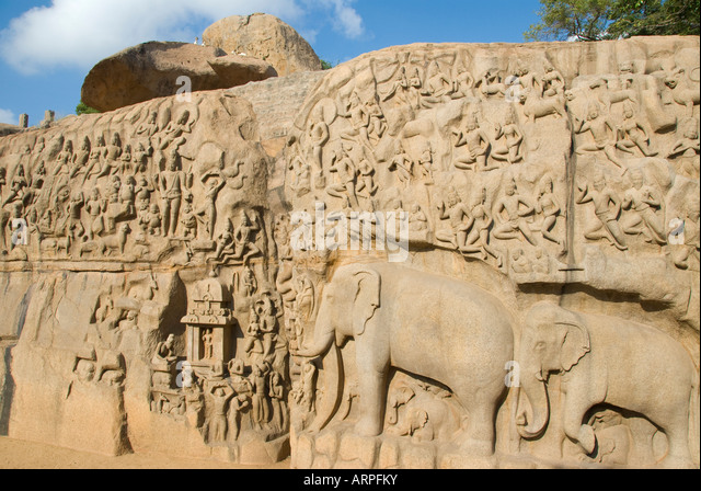 Arjuna s Penance relief carving in Mamallapuram in Tamil Nadu India - Stock Image