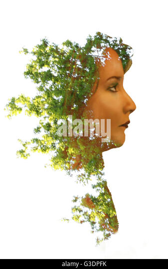 Women with leaves for hair; double exposure - Stock Image