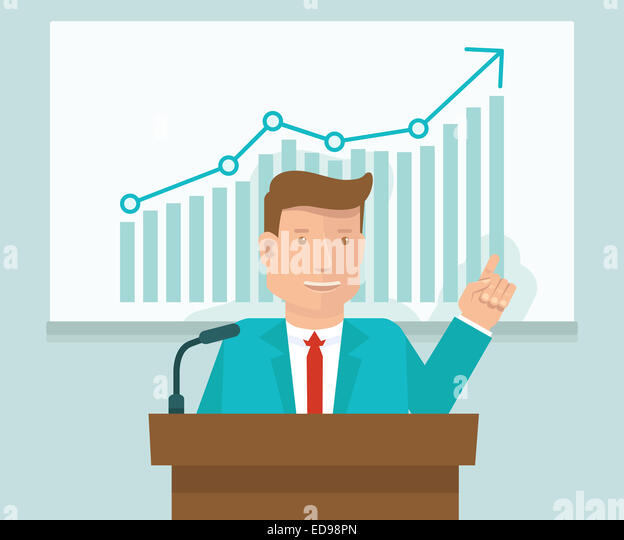 Business conference concept in flat style - man speaking in front of presentation screen with graph - Stock-Bilder