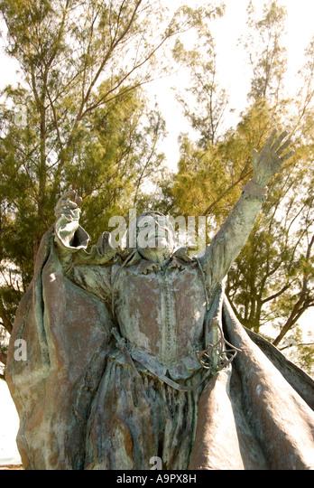 Bermuda St George Ordnance Island  Sir George Somers statue - Stock Image