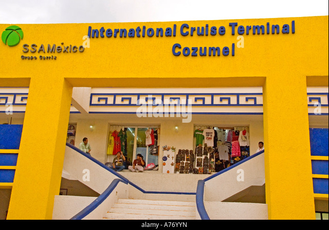 Cozumel Mexico International Cruise Terminal entrance - Stock Image