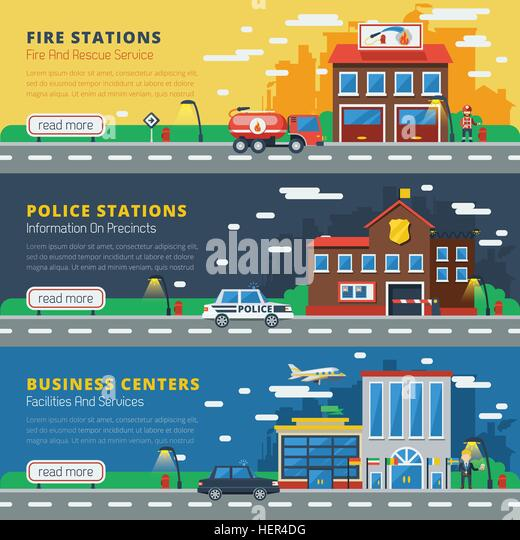 Government Buildings Tree Flat Banners . Government buildings horizontal banners with fire stations police stations - Stock-Bilder