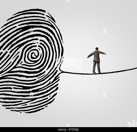 Customer information security risk concept as a person walking on a finger print shaped as a high wire line as an - Stock-Bilder