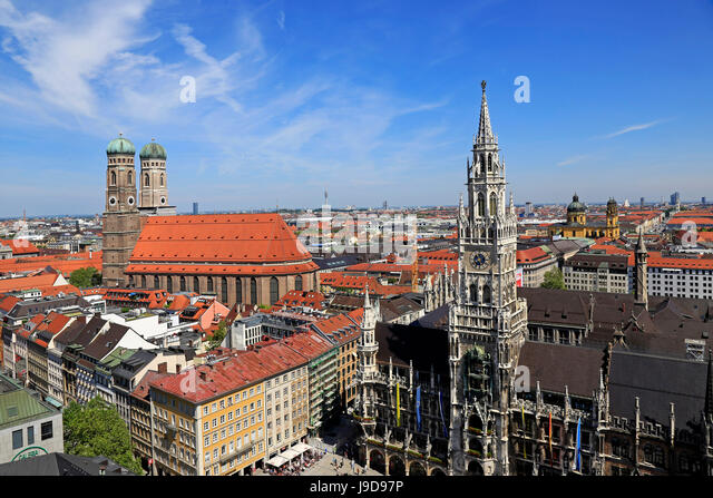 View from St. Peter's Church down to Marienplatz Square, City Hall and Church of Our Lady, Munich, Upper Bavaria, - Stock Image