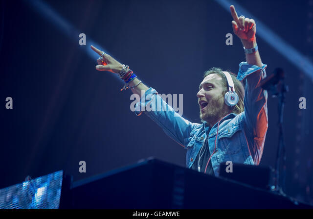 July 23.2016 -  David Guetta (Pierre David Guetta) performs live at Trabrennbahn Arena Bahrenfeld in Hamburg, Germany. - Stock Image