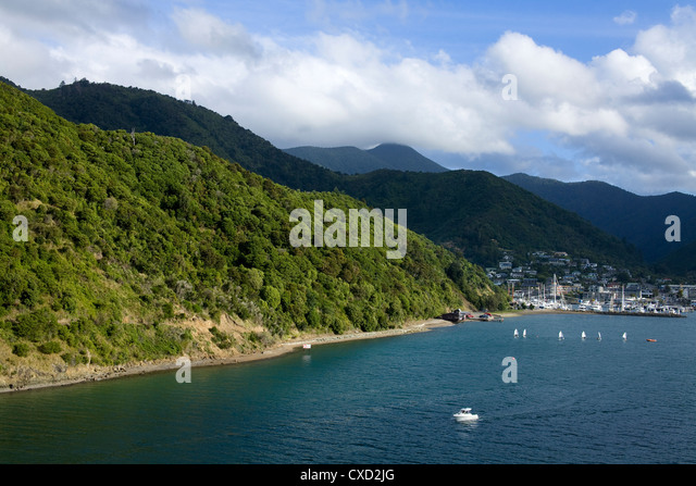 Queen Charlotte Sound, Picton, South Island, New Zealand, Pacific - Stock-Bilder