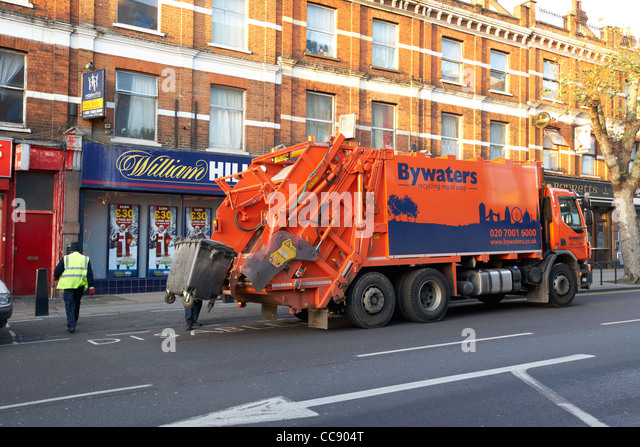 bywaters waste management recycling truck bin emptying London England UK United kingdom - Stock Image