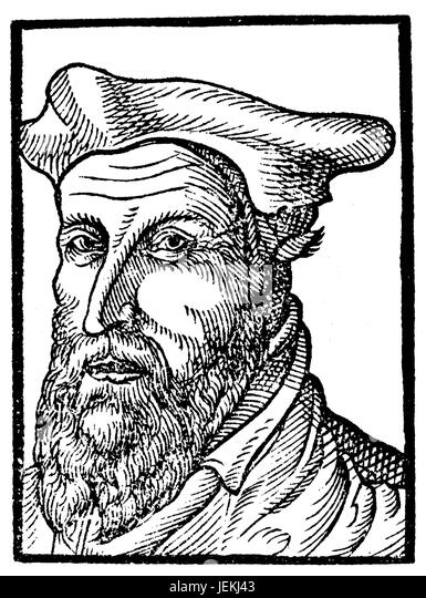 JOHANNES RIVIUS (1500-1553) German humanist and theologian from a 1571 book by Heinrich Pantaleon. - Stock-Bilder