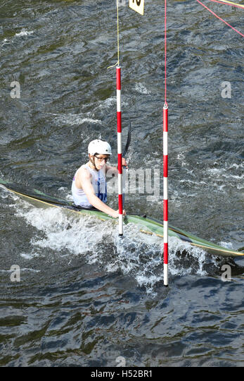 British Canoeing BCU slalom competition event on the River Wye in Herefordshire England UK - Stock Image