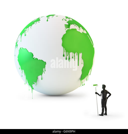 Wet paint dripping from a globe - environmental protection concept 3D illustration - Stock-Bilder