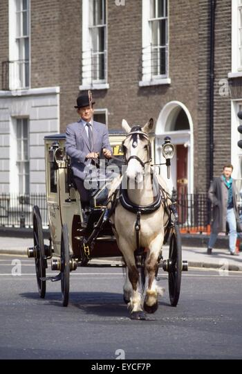 Old-Fashioned Horse And Carriage, Dublin City, County Dublin, Ireland - Stock Image