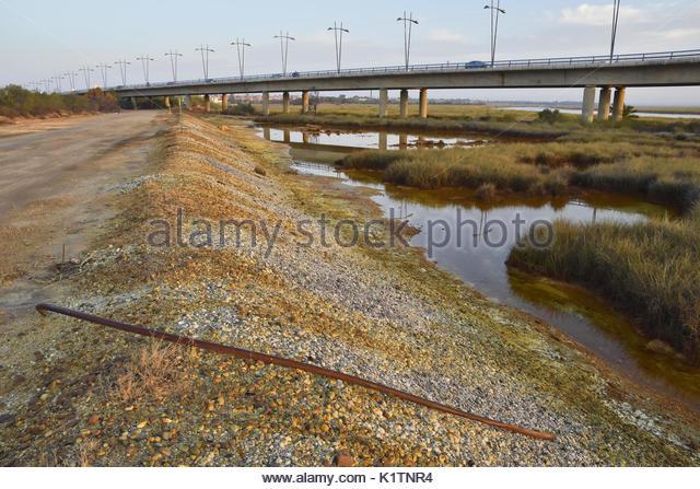 Chemical waste dumped in wetlands area near Huelva southern Spain Europe - Stock Image