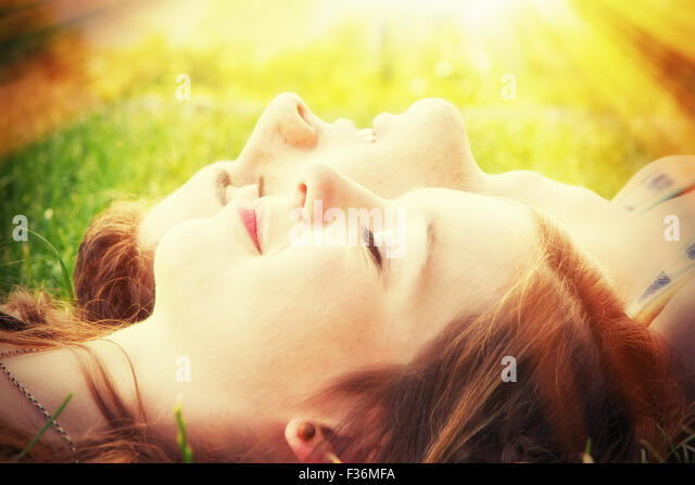 Young couple in the warm sun - Stock Image