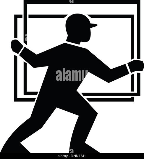 Illustration of a delivery worker handling a plate of glass done in black and white. - Stock Image