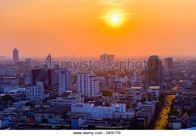 Sunset, Downtown Bangkok, Bangkok, Thailand - Stock Image