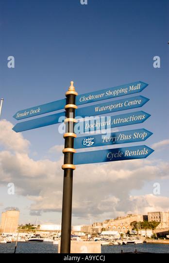 Bermuda Dockyard direction place signs - Stock Image