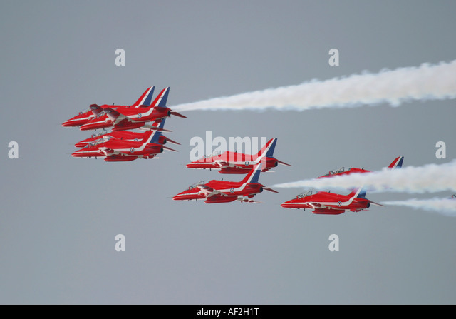 Royal Air Force British aerobatics display team Red Arrows - Stock Image