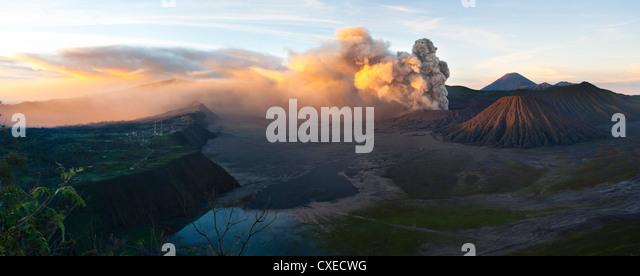 Mount Bromo volcanic eruption sending up an ash cloud, East Java, Indonesia, Southeast Asia, Asia - Stock Image