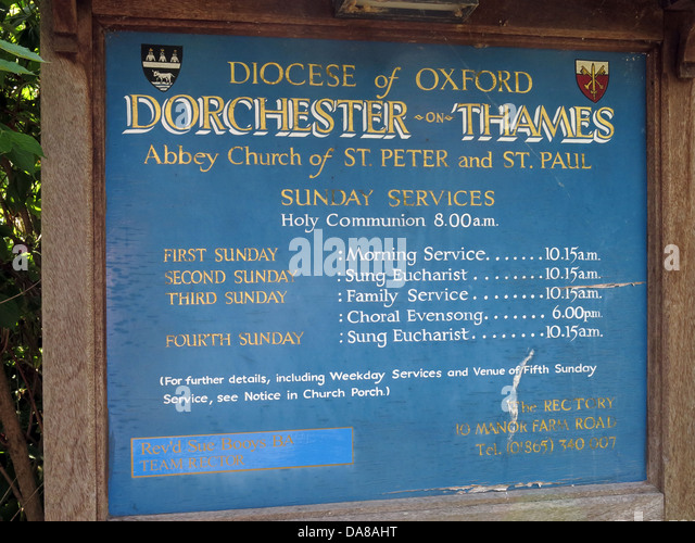 Beautiful Dorchester On Thames Abbey Church of St Peter & St Paul front sign - Stock Image