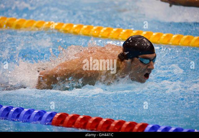 London 2012  - Olympics:   Swimming.  Men's 200 Meter Butterfly - Semi Final.     Michael Phelps (USA) - Stock Image