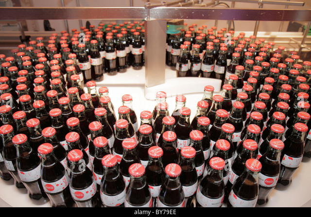 Atlanta Georgia World of Coca-Cola Pemberton Place company museum Bottle Works exhibit functioning bottling line - Stock Image