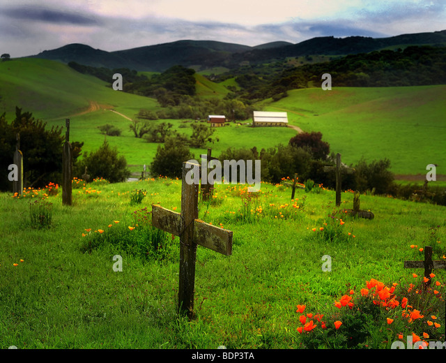 A memorial cross in a graveyard with rolling green fields - Stock Image