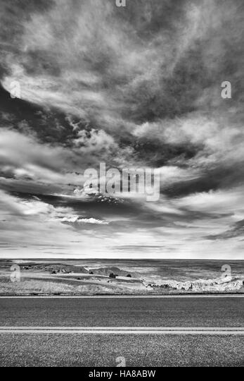 Black and white desert road, travel concept, USA. - Stock-Bilder