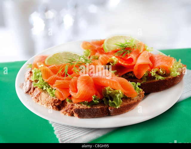 Smoked Salmon & salad Sandwich - Stock Image
