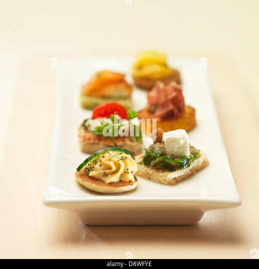 Canape tray stock photos canape tray stock images alamy for Canape aperitif