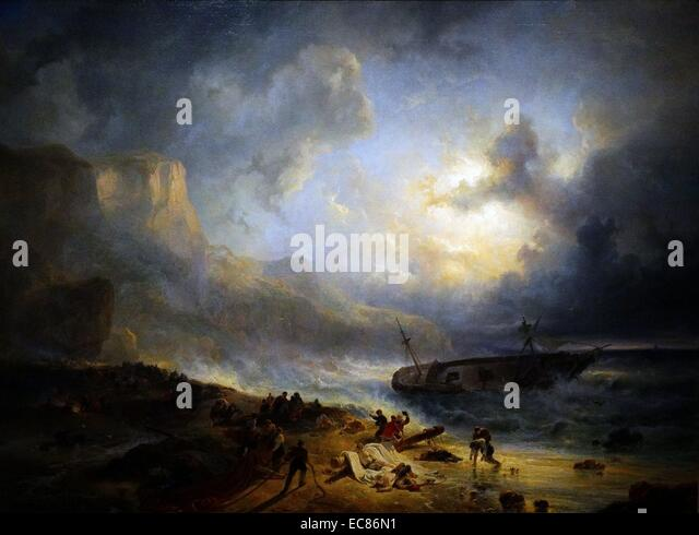 Painting titled 'Shipwreck off a Rocky Coast' - Stock Image