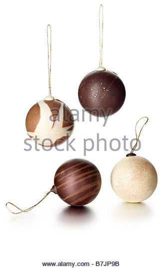 chocolate ball xmas tree decorations - Stock Image
