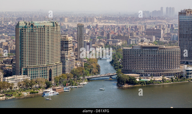 Aerial view of the city of Cairo along the Nile river - Stock Image