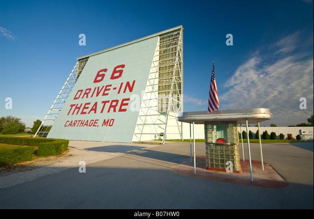 USA, Missouri, Route 66,  Carthage, Drive-in Cinema - Stock Image