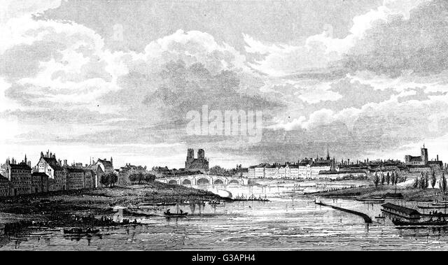 Paris, France - General View from the Austerlitz Bridge     Date: 1830 - Stock Image
