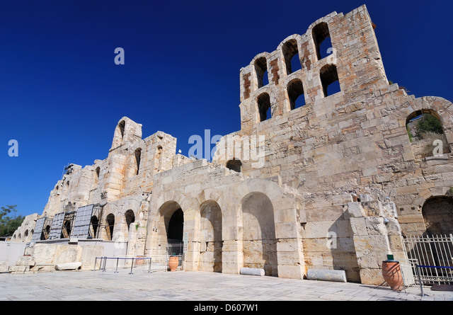 The Odeon of Herodes Atticus is a stone theatre structure located on the south slope of the Acropolis of Athens. - Stock Image