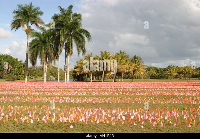 Coral Gables Miami Florida Fairchild Tropical Botanic Garden Flower Square art installation flags represent brushstrokes - Stock Image