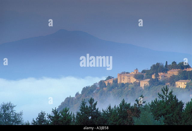 Mount Amiata and village Tuscany Italy - Stock Image