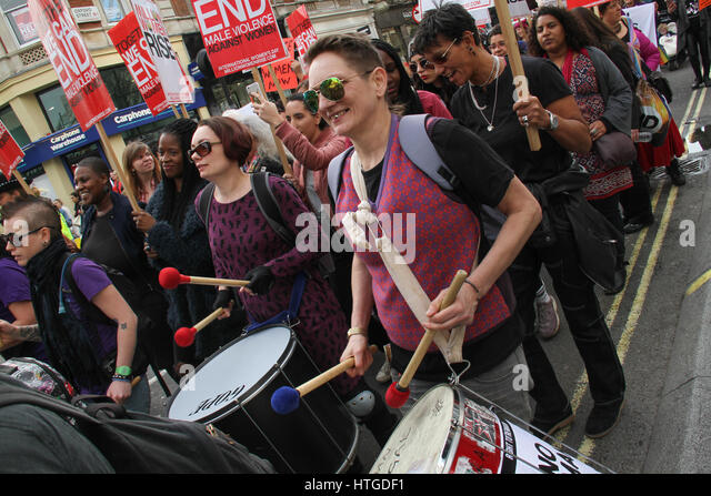 London, UK. March 11, 2017: Demonstrators drumming as they marched down Oxford Street during the 10th annual Million - Stock Image