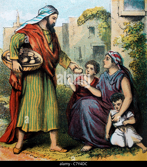 Bible Stories- Illustration from the Proverbs Of Solomon IV ' He that hath pity upon the poor lendeth unto the - Stock Image